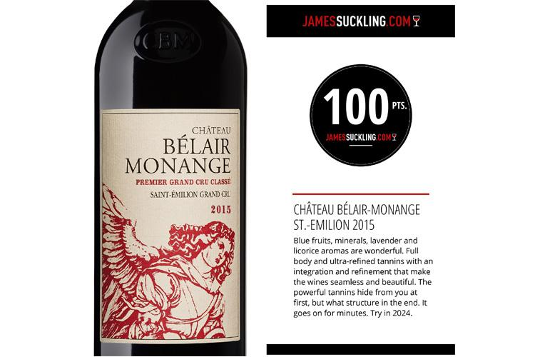 Belair-Monange 2015 obtient 100 pts de James Suckling